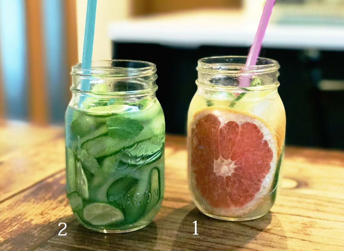 1 グレープフルーツ&ジンジャー 2 グリーンウォーター