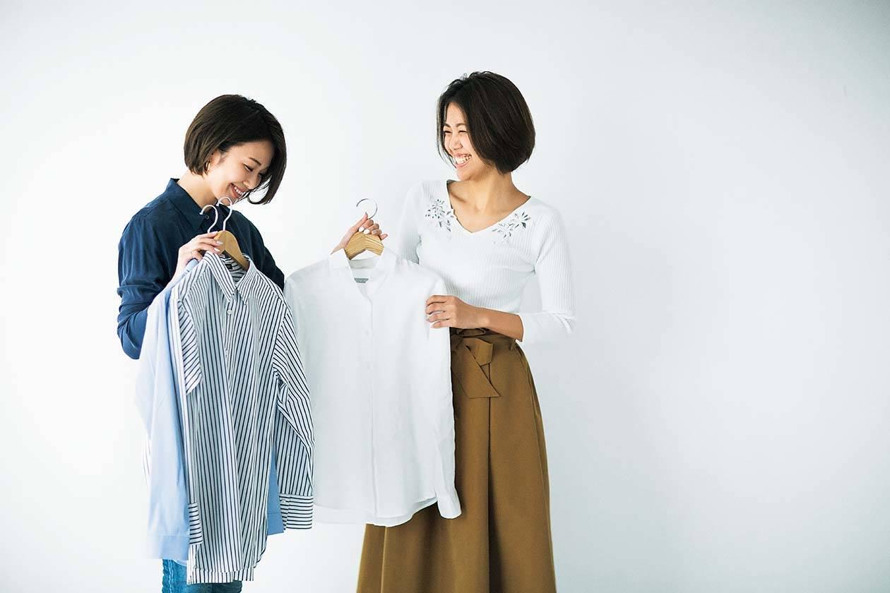 「ニットじゃなくて、シャツを合わせて甘さを引き算しましょう!」by 小山田早織さ