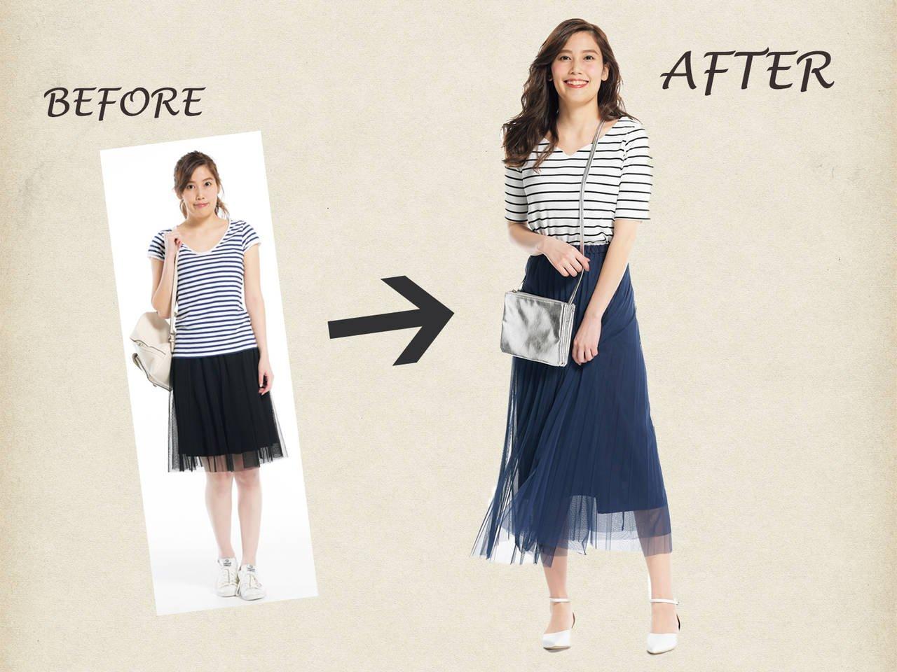 ANSWER >>Tシャツのサイズやスカートの丈感をチェンジ!