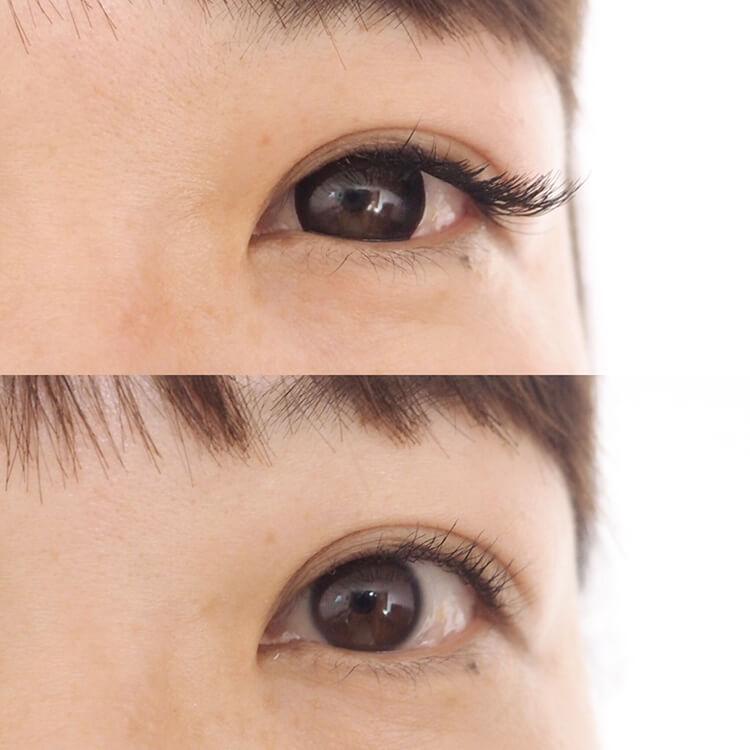 (2)黒目を大きく見せるコンタクトで、目が小さく見えている!?