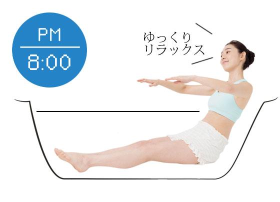 PM 8:00 お風呂でゆっくり筋肉ほぐし