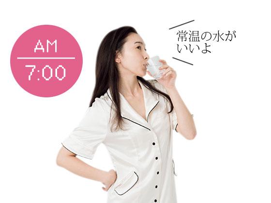 AM 7:00 朝起きたら1杯の水を飲む