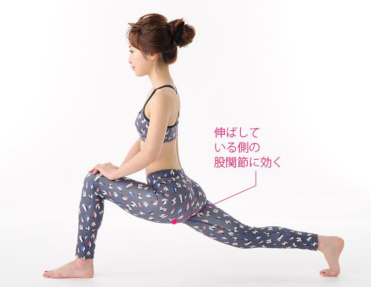 (2)後ろに伸ばした脚の股関節をしっかり伸ばす